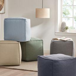 "Gap Home Washed Denim Indoor Floor Pouf Light Blue 16"" x 16"" x 16"" | Walmart (US)"