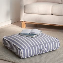 """Gap Home Yarn Dyed Chambray Stripe Indoor Single Floor Square Cushion with Handle Navy 24"""" x 24"""" ... 