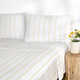 Gap Home Floral Pinstripe Percale Easy Care Sheet Set, Deep Pocket, King, Yellow, 4-Pieces | Walmart (US)