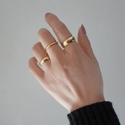 18K Gold Plated Tungsten Bold Ring Gold Band Ring Gold Stacking Ring Stackable Ring Thick Ring Th...   Etsy (US)