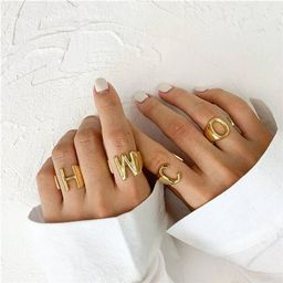 Gold Initial Ring. New Personalized Adjustable GOLD Initial Ring A-Z. Initial rings. Statement ri...   Etsy (US)