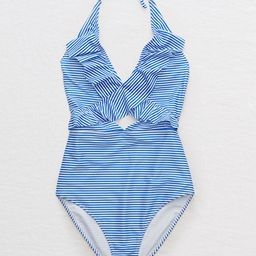 Aerie Ruffle One Piece Swimsuit Women's Blue Vibe L Long   American Eagle Outfitters (US & CA)