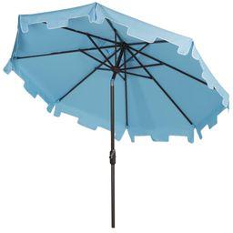 Safavieh Zimmerman 9' Market Crank UV Resistant Patio Umbrella, Blue | Walmart (US)