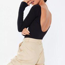 Black Extreme Scoop Back Bodysuit | Missguided (US & CA)