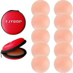 FJYQOP Silicone Nipple Covers - 5 Pairs, Women's Reusable Adhesive Invisible Pasties Nippleless C... | Amazon (US)