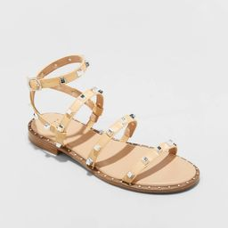Women's Astrid Wide Width Studded Strappy Sandals - A New Day Tan 8W | Target