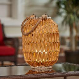 Better Homes & Gardens Battery Powered Outdoor Yellow Rattan LED Lantern | Walmart (US)