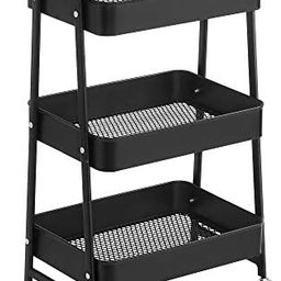 SONGMICS 3-Tier Rolling Cart, Metal Storage Cart, Kitchen Storage Trolley with 2 Brakes and Handl... | Amazon (US)