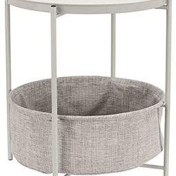 Amazon Basics Round Storage End Table - White with Heather Grey Fabric | Amazon (US)
