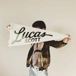 Lucas Pennant - Custom Name White Wool Felt Pennant Flag - Vintage Style Personalized Felt Pennan... | Etsy (US)