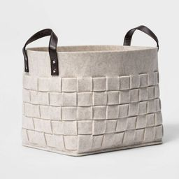 Woven Felt Rectangular Basket with Faux Leather Handles White - Threshold™ | Target