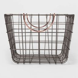"""16""""x11""""x8"""" Wire Basket with Handle Gray/Copper - Threshold™ 