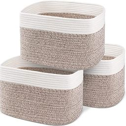 """100% Cotton Rope Basket Set of 3 – 15x10x9"""" Coiled Rope Basket with Handles – Keeps Shape –... 