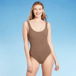 Women's Crinkle Textured Medium Coverage One Piece Swimsuit - Kona Sol™ Copper | Target