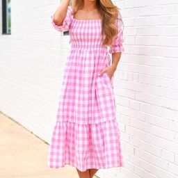 Check It Out Midi Dress - Pink Gingham | The Impeccable Pig