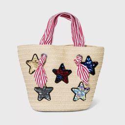 Girls' Paper Straw Tote with Sequin Star Handbag - Cat & Jack™ Tan   Target