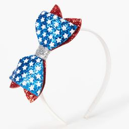 Fourth of July Glitter Bow Headband - White   Claire's (US)
