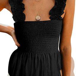 CILKOO Women's Frill Smocked Crop Tank Top Tie Shoulder Strap Vest(S-XXL) | Amazon (US)