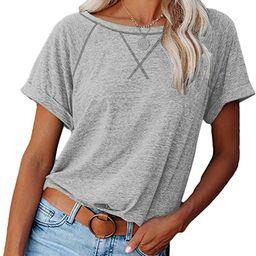 Womens Short Sleeve Shirts Raglan Color Block T Shirts Tees Casual Loose Fit Tshirts Tops | Amazon (US)
