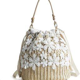 FENBEN Bamboo Handbag, Beach Purse Bag Half Moon Bag, Straw Lace Woven Travel Sling Bag Shoulder ... | Amazon (US)