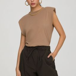 STRONG SHOULDER TANK   TAUPE001   Good American