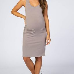 Taupe Sleeveless Ruched Fitted Maternity Dress   PinkBlush Maternity