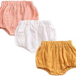 JELEUON 3 Pack of Little Baby Girls Boys Cotton Linen Blend Cute Bloomer Shorts   Amazon (US)
