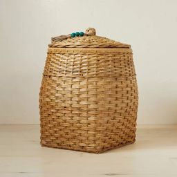 """18"""" x 21.5"""" Rattan Basket with Tassel Lid Natural - Opalhouse™ designed with Jungalow™   Target"""