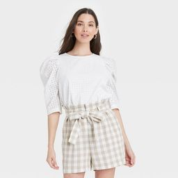 Women's Elbow Sleeve Eyelet Top - A New Day™ | Target