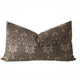 Vintage Lumbar Floral Print Pillow Cover    SAVOY    Modern Farmhouse   Boho Pillow   Marigold In...   Etsy (US)