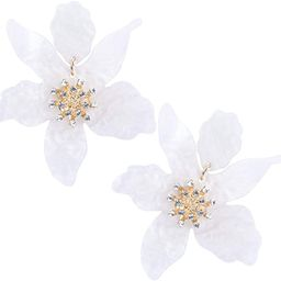 RESIN ACRYLIC FLOWER DANGLE EARRINGS - Exaggerated European And American Style Big Flower Earring...   Amazon (US)