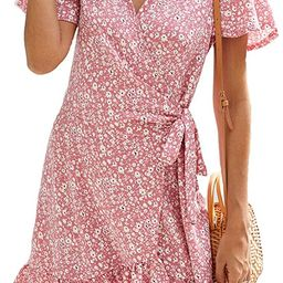 Naggoo Women's Summer Wrap V Neck Polka Dot Print Ruffle Short Sleeve Mini Floral Dress with Belt | Amazon (US)