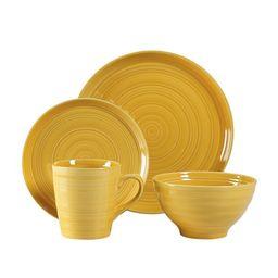 Woven Paths Farmhouse 16-Piece Dinnerware Set, Yellow | Walmart (US)