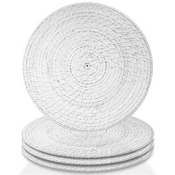 Better Homes & Gardens White Round Rattan Chargers Set of 4 | Walmart (US)
