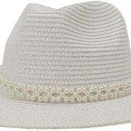 Navy Hat Pearl Summer Beach Ladies Trilby Wide Brim Straw Sun Hats for Women Jazz Fedora | Amazon (US)