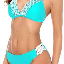 beautyin Women's Crochet Lace Bikini Two Piece Triangle Swimsuit Bathing Suits | Amazon (US)