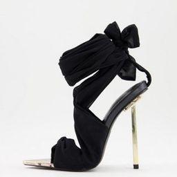 Public Desire Huni ribbon tie wrap around sandals in black | ASOS (Global)