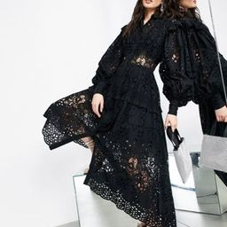 ASOS EDITION broderie shirt dress in black | ASOS (Global)