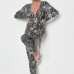 Black Zebra Print Wrap Front Belted Jumpsuit | Missguided (UK & IE)