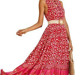 R.Vivimos Women's Summer Sleeveless Floral Print Button Up Bohemian Flowy Maxi Dresses   Amazon (US)