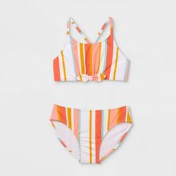 Girls' Striped 2pc Bikini Set - Cat & Jack™ Coral | Target