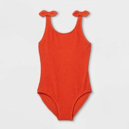 Girls' Pucker Textured and Pout One Piece Swimsuit - Cat & Jack™ Rust | Target