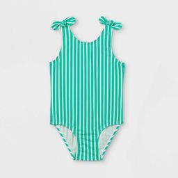Toddler Girls' Striped Bow Shoulder One Piece Swimsuit - Cat & Jack™ Green | Target