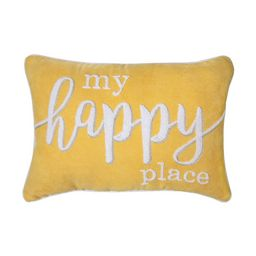 """Better Homes & Gardens Decorative Throw Pillow, My Happy Place, Oblong, Yellow, 14"""" x 20"""", 1Pack 