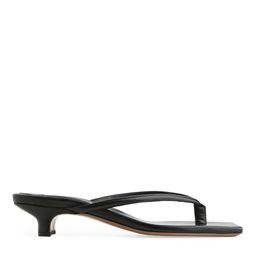 Slip-On Leather Sandals - Black | ARKET