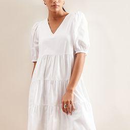 Puff Sleeve Organic Cotton Tiered Dress   Banana Republic Factory