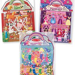 Melissa & Doug Reusable Puffy Sticker Play Set 3 Pack: On The Farm, Princess and Mermaid | Amazon (US)