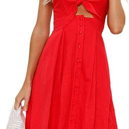 ECOWISH Women Dresses Summer Tie Front V-Neck Spaghetti Strap Button Down A-Line Backless Swing M... | Amazon (US)