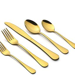 Gold Silverware Set, LIANYU 20 Piece Stainless Steel Flatware Cutlery Set for 4, Gold Mirror Fini...   Amazon (US)