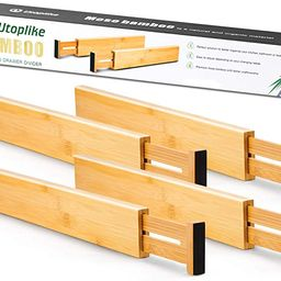 Utoplike 4 Pack Bamboo Kitchen Drawer Dividers,Adjustable Drawer Organizers,Spring Loaded,Works i...   Amazon (US)